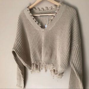 Sweaters - Frayed Tan Sweater